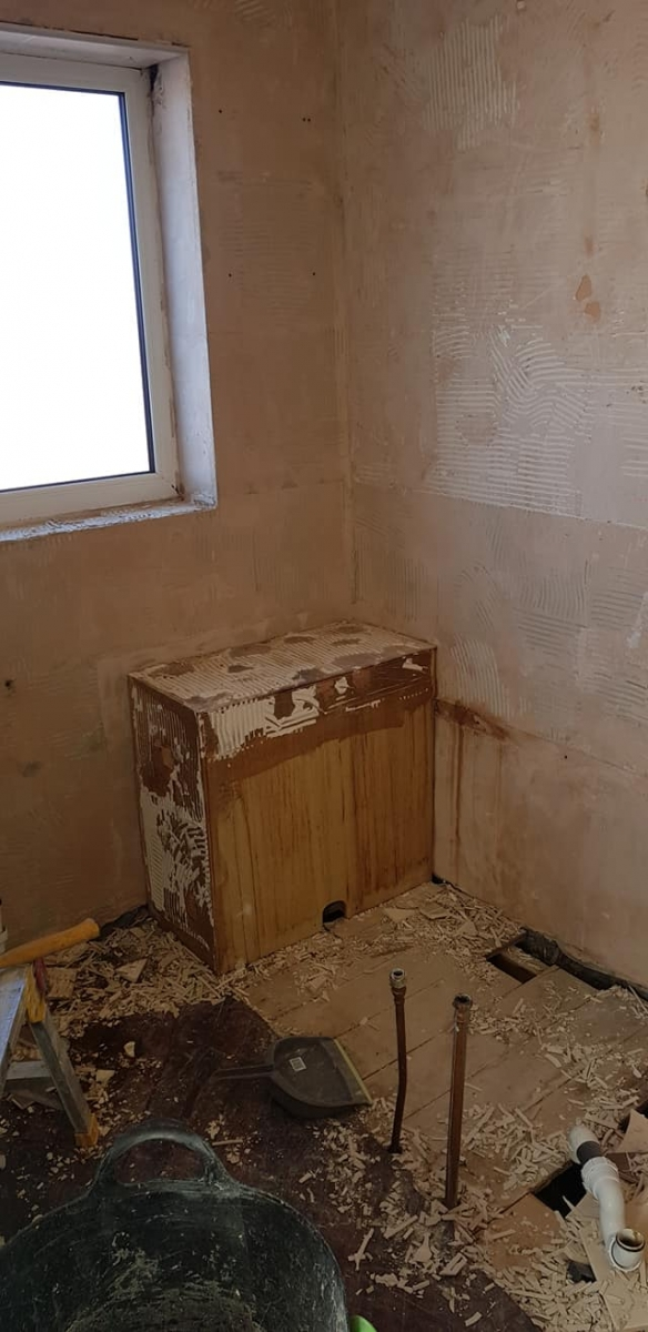 Work start to clear the bathroom