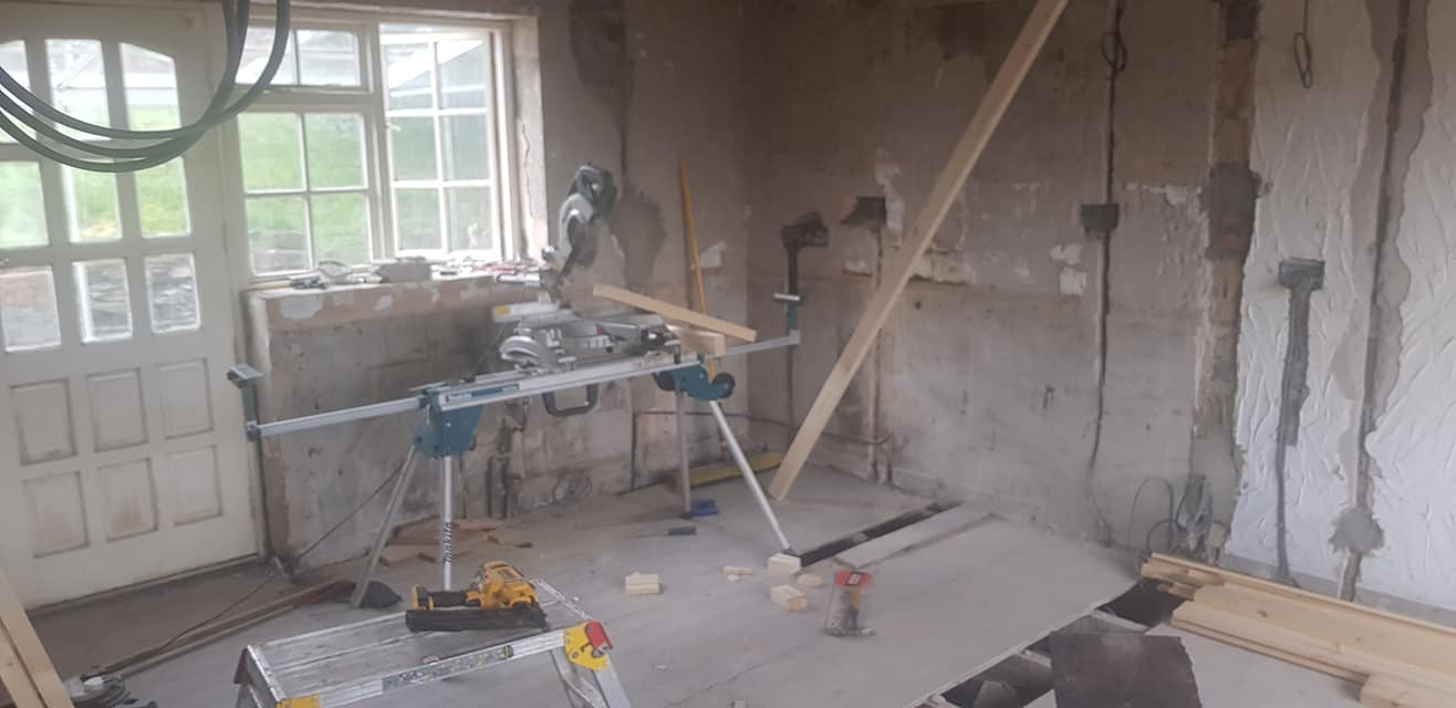 Kitchen ripped out, internal wall knocked down, new electrics are done. Plastering to start then kitchen to be installed.